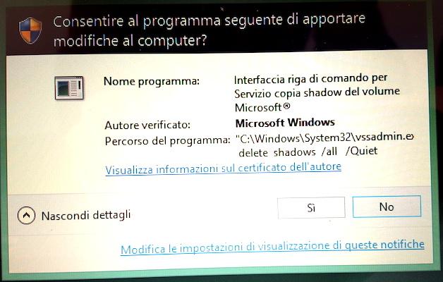 TeslaCrypt chiede di eseguire il comando vssadmin delete shadows come amministratore