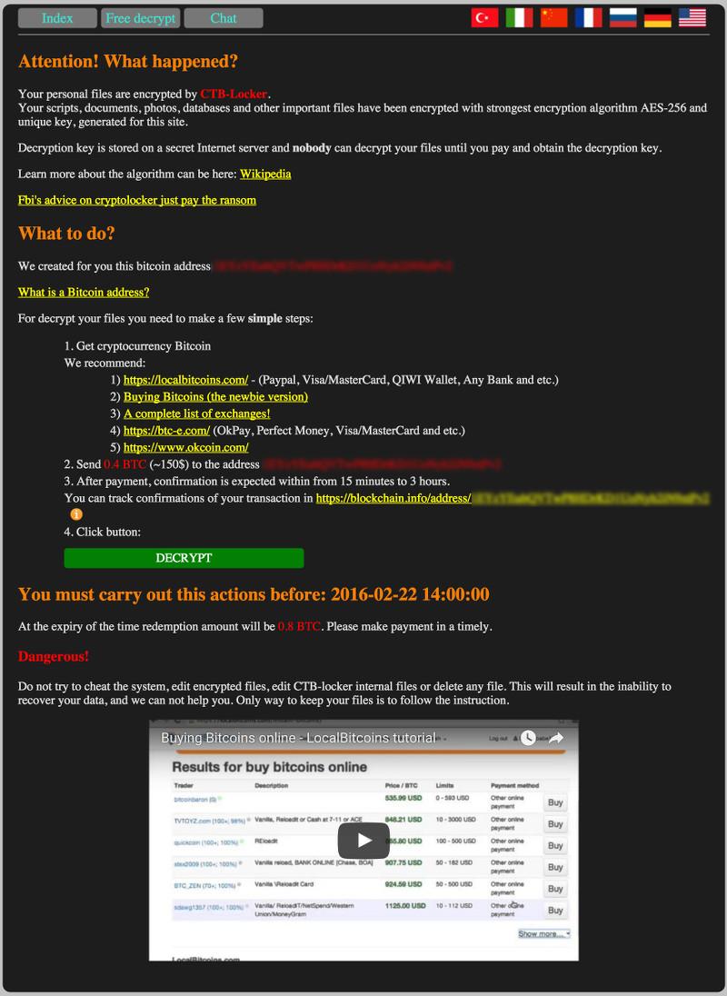 CTB Locker cripta i siti web