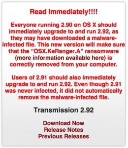 KeRanger, Ransomware per Mac OS X