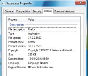 Jigsaw Ransomware File Properties