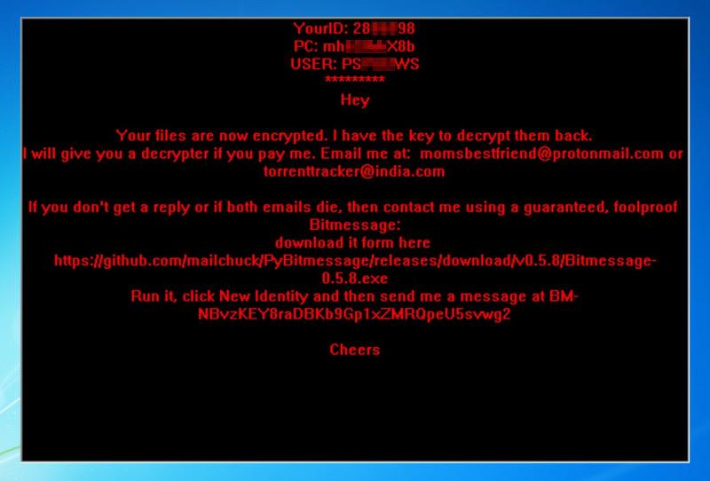 Il ransomware che comunica con la vittima tramite indirizzo bitmessage BM-NBvzKEY8raDBKb9Gp1xZMRQpeU5svwg2
