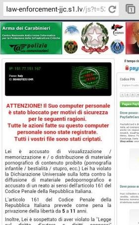 Schermata virus Polizia Penitenziaria sullo smartphone