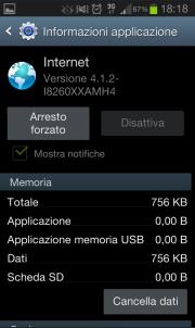 Svuotare la cache dei dati della navigazione Internet in un dispositivo Android
