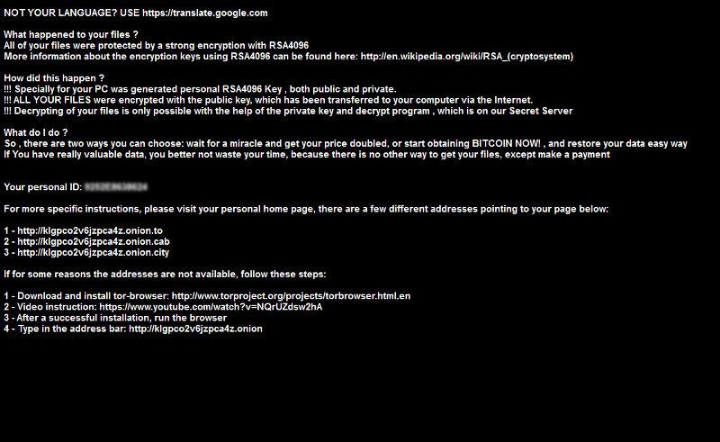 """Messaggio con richiesta di riscatto """"de_crypt_readme.bmp"""""""