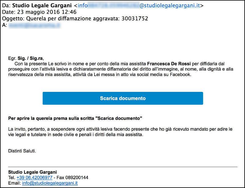 Falsa Querela per Diffamazione Studio Legale Gargani