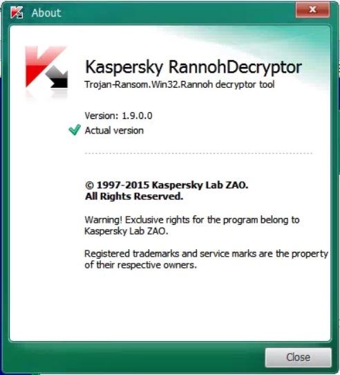kaspersky rannohdecryptor tool