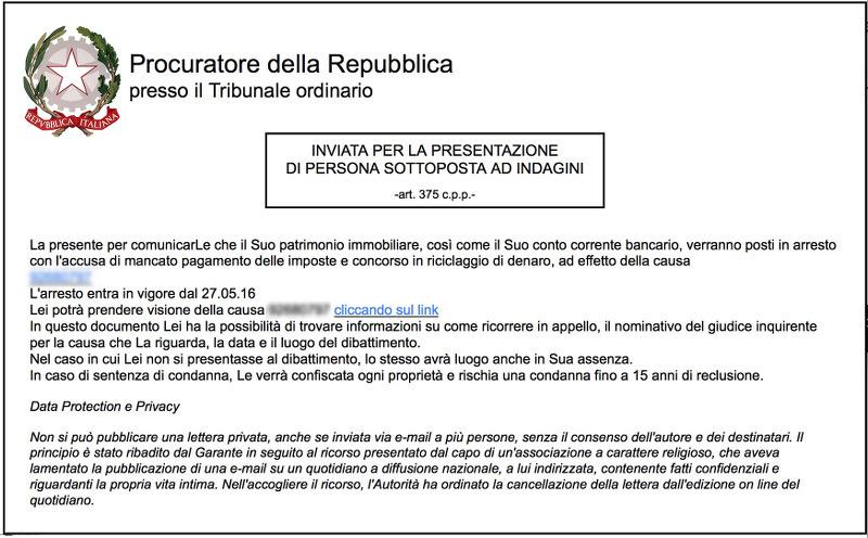 Ransomware inviato tramite phishing che si finge mail del Procuratore della Repubblica