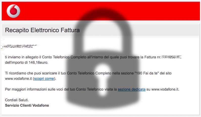 Ransomware nascosto nella falsa fattura Vodafone Italia