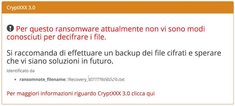 Impossibile decriptare i file cifrati dal ransomware