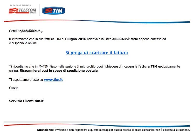 Phishing tramite falsa fattura TIM che diffonde CryptoVirus