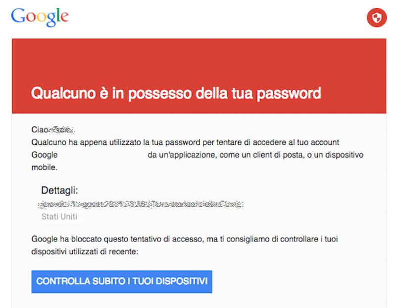 Qualcuno è in possesso della tua password Google
