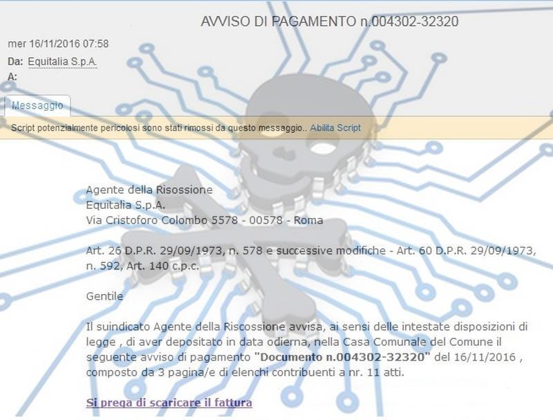 """Ransomware che viene inviato tramite phishing Equitalia fingendosi """"Agente della risossione"""""""