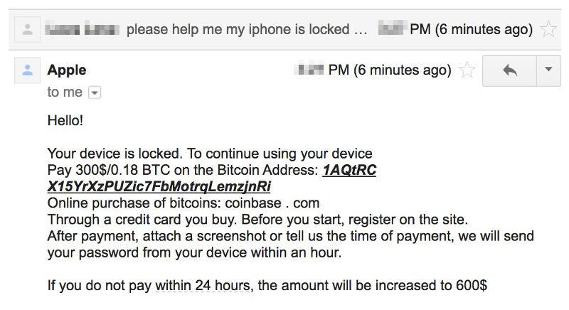 Richiesta di riscatto in bitcoin per il ransomware degli iPhone